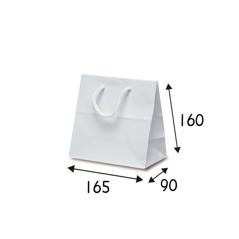 【ケース販売】紙袋 リトルバック ホワイト 100枚 サイズ 165×90×160mm【業務用 高級 手提げ ラッピング つや有 グロス 光沢感】