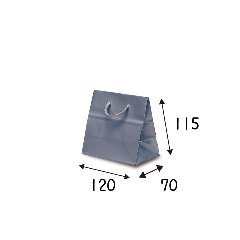 【ケース販売】紙袋 キュ-トバック シルバー ・ 100枚 サイズ 120×70×115mm【業務用 高級 手提げ ラッピング つや有 グロス 光沢感】