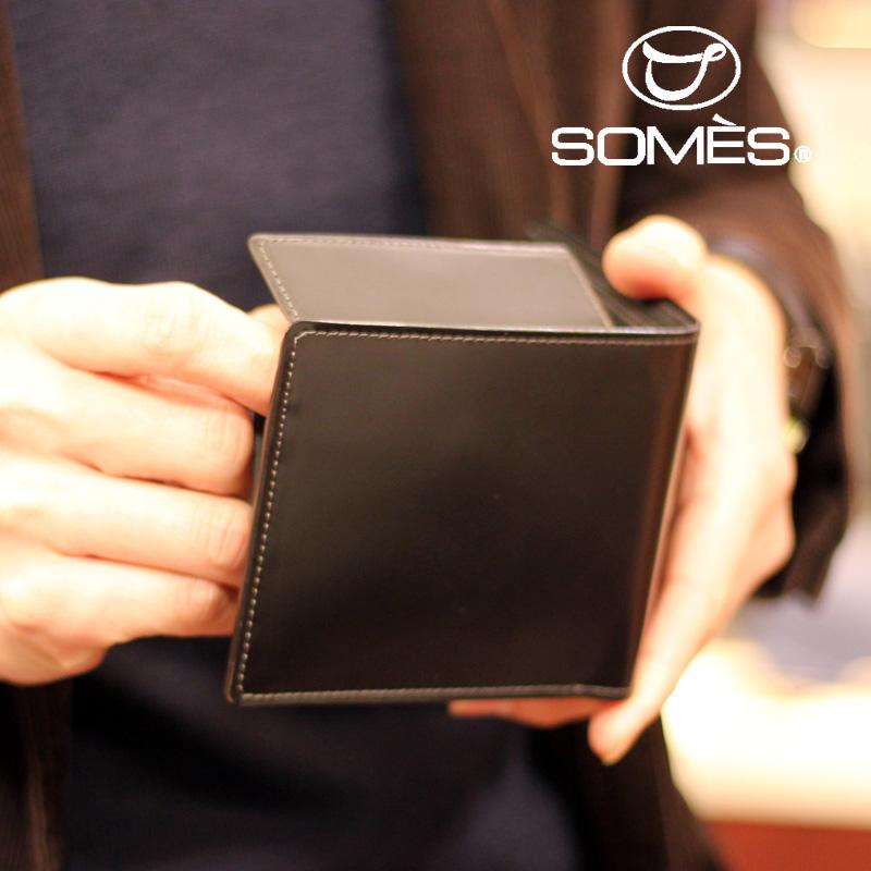 ソメスサドル コードバン二つ折り財布 ハノーバー ブラック