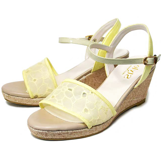 a15b6a02014 [Lady's] JELLY BEANS jelly beans low heel wedge-heel shoes midriff sandals  yellow