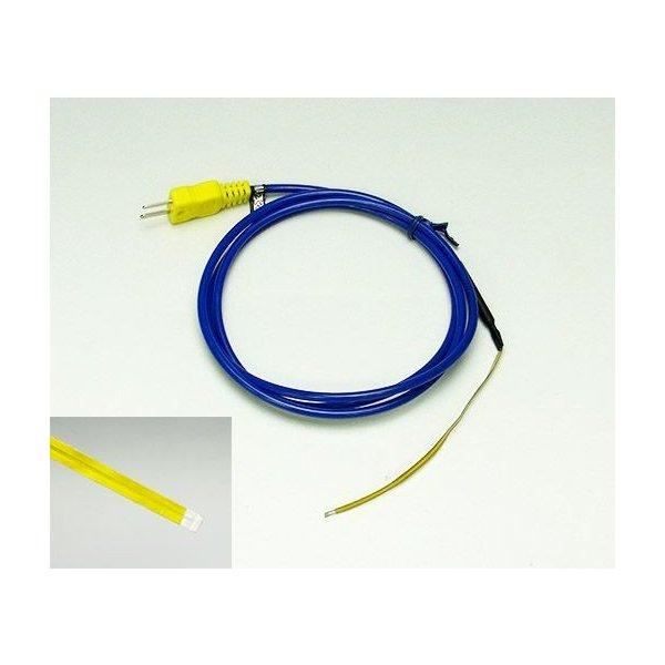 テープ形K熱電対温度センサ TS-04K ポリイミド樹脂サーモカップルシート表面用Kタイプ 過熱使用限度250℃ ケーブル約930cm ミニプラグ付 先端部1mm以下×幅4mm×長さ100mm