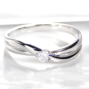◆K18WG ダイヤモンド ウェーブ リング◆ 指輪 ゴールド ホワイトゴールド 0.1カラット ダイヤ リング クロス ウェーブ プレゼント 刻印無料 品質保証書 代引手数料無料 送料無料