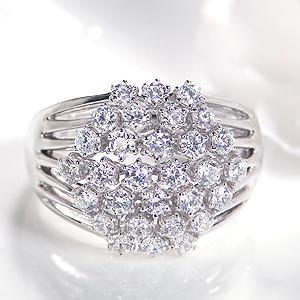 K18WG【1.0ct】ダイヤモンド パヴェ リング 送料無料 刻印無料 品質保証書付 ダイヤモンド リング ダイヤリング 六角形 パヴェ ホワイトゴールド 18金 K18 1カラット 指輪 レディース ギフト プレゼント 品質保証書