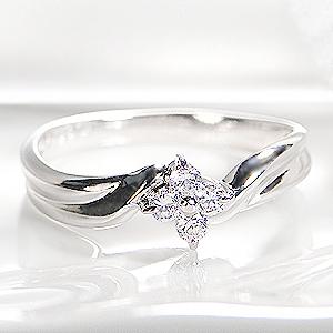 ◆K18WG 0.13ct ダイヤモンド フラワー リング!ジュエリー アクセサリー レディース 指輪 リング ホワイトゴールド フラワー ゴールド 送料無料 品質保証書 花 ギフト ダイア プレゼント 4月誕生石 K18 代引手数料無料