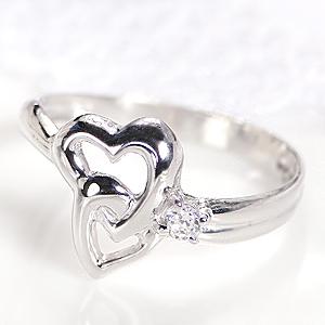 ◆K18WG/YG ダイヤモンド ピンキーリング◆指輪 ダイヤ リング ホワイトゴールド イエローゴールド ハート リング 送料無料 品質保証書 ダイア 4月誕生石 18k 18金 人気 かわいい 可愛い 代引手数料無料