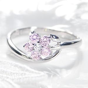 ◆K18WG ピンクサファイア ダイヤモンドフラワー リング◆指輪 リング ピンクサファイア ダイヤ フラワー 送料無料 刻印無料 品質保証書 花 ギフト ダイア プレゼント 人気 おしゃれ 可愛い 4月誕生石 代引手数料無料