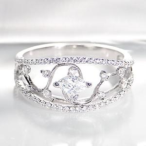 K18WG【0.72ctUP】ダイヤモンドリング 【送料無料】【刻印無料】 【品質保証書付】 【代引き手数料無料】ワイドリング 幅広 ダイヤ 指輪 アンティーク プレゼント