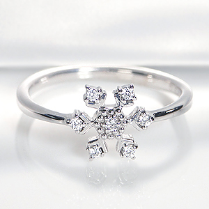 K18WG 0.07ct 雪の結晶 ダイヤモンド リング◆/指輪 リング K18 18金 ダイヤ 送料無料 刻印無料 品質保証書 スノーフレーク 雪の華 ギフト ダイア プレゼント 4月誕生石 代引手数料無料