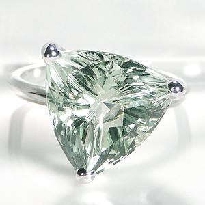 K18WG グリーンクォーツ トリリアント リングジュエリー 大粒 カラーストーン レディース 指輪 ダイヤモンド ホワイトゴールド グリーンクォーツ 三角 三角形 送料無料 細身 品質保証書 18金 ギフト プレゼント 代引手数料無料