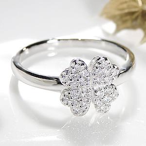 ジュエリー アクセサリー レディース 指輪 リング ホワイトゴールド・ダイヤモンド ダイア 18金 K18WG 四葉 クローバー 0.20ct 送料無料 刻印無料 品質保証書 パヴェ プレゼント 誕生日 ギフト 購入 代引手数料無料