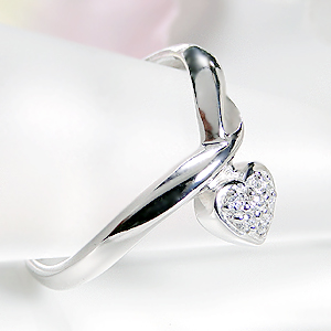ジュエリー・アクセサリー・レディース・指輪・リング・ホワイトゴールド・ダイヤモンド・ダイア・K18WG・はーと・ハート・送料無料・刻印無料・品質保証書・パヴェリング・ プレゼント・誕生日・ギフト・購入・代引手数料無料