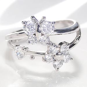 ファッション・ジュエリー・アクセサリー・レディース・指輪・リング・プラチナ・ダイヤモンド・0.75ct・0.7ct・花・蝶・バタフライ・フラワー・大粒・送料無料・結婚・品質保証書・pt900・ギフト・ダイア・プレゼント・4月誕生石・テンダイヤ