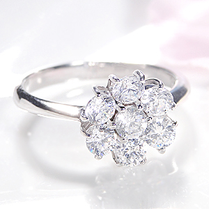 ファッション ジュエリー アクセサリー レディース 指輪 リング プラチナ Pt900 ダイヤモンド ダイアモンド ダイヤ ダイア フラワー 花 1ct SI 大粒 刻印無料 代引手数料無料 送料無料 品質保証書 プレゼント 4月誕生石