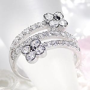 ファッション ジュエリー アクセサリー レディース 指輪 リング プラチナ ダイヤモンド リング ダイヤ リング 1ct 1カラット 花 フラワー パヴェ プレゼント ギフト 4月 豪華 刻印無料 代引手数料無料 送料無料 品質保証書