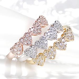 ファッション ジュエリー アクセサリー レディース 指輪 ダイヤ リング ホワイトゴールド ダイヤモンド リング 0.2ct エタニティ 送料無料 パヴェ 代引手数料無料 品質保証書 18金 ギフト プレゼント 4月誕生石 K18 重ねづけ ハート *