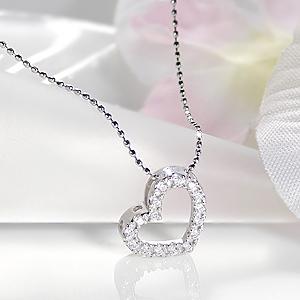 ファッション ジュエリー アクセサリー レディース ネックレス ホワイトゴールド ダイヤモンド ハート オープンハート 18金 オープンハート 送料無料 ペンダント ギフト プレゼント 品質保証書 4月誕生石 ホワイトデー 代引手数料無料