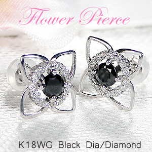 K18WG ブラックダイヤ & ダイヤモンド フラワー ピアス18金 ピアス ゴールド 人気 花 フラワー かわいいピアス 4月誕生石 フラワーモチーフ 送料無料 品質保証書 代引手数料無料