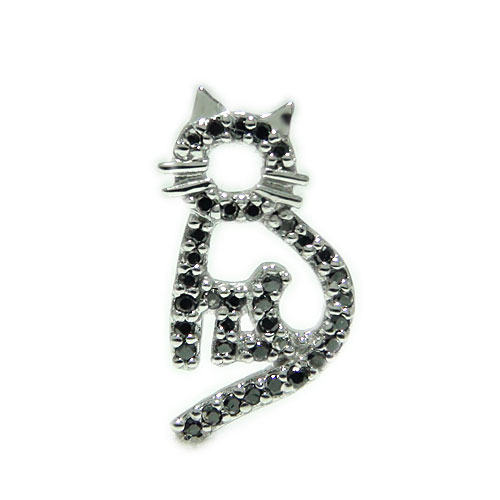 K18WG ホワイトゴールド ネコ 猫 黒ネコ ブラックダイヤ ダイヤモンド ペット ラペルピン ピンバッジ ピンブローチ ブローチ