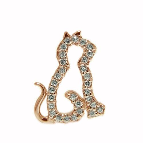 K18PGピンクゴールド ラペルピン ダイヤ ネコ ペット ピンブローチ ピンバッジ ブローチ