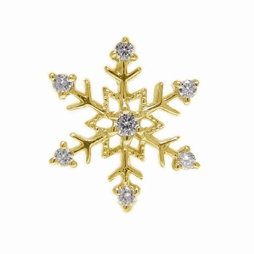 K18YGイエローゴールド ラペルピン ダイヤ 雪の結晶 雪 ピンブローチ ピンバッジ ブローチ