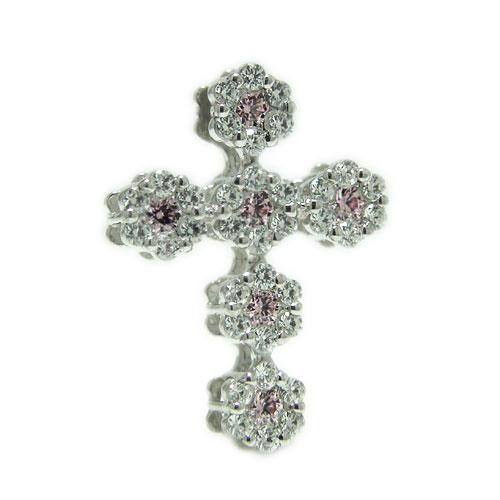 PT900プラチナ ダイヤ ピンクサファイヤ クロス 十字架 ラペルピン ピンバッジ ピンブローチ ブローチ 誕生石