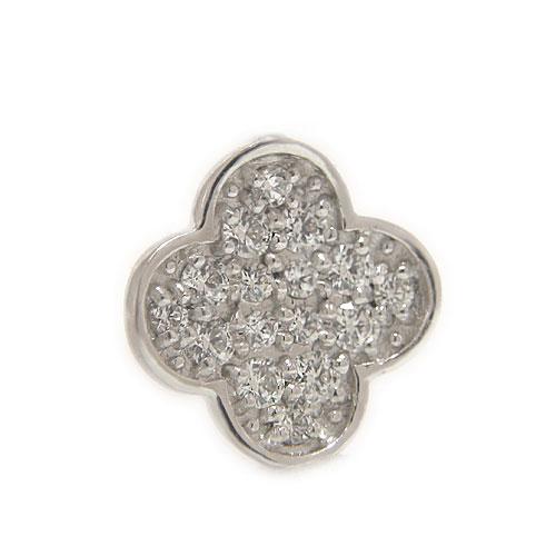 PT900プラチナ ダイヤ ラペルピン ピンバッジ ピンブローチ 四葉 クローバー モチーフ 4月誕生石