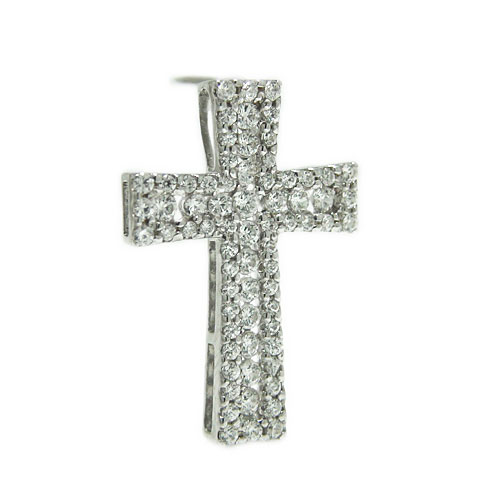 K18ホワイト/ピンク/イエローゴールド クロス キュービックジルコニア ラペルピン ピンバッジ ピンブローチ ブローチ 十字架 モチーフ