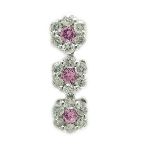 K18 ホワイト/ピンク/イエローゴールド ラペルピン ダイヤ ピンクサファイヤ ピンバッジ ピンブローチ ブローチ お花 誕生石
