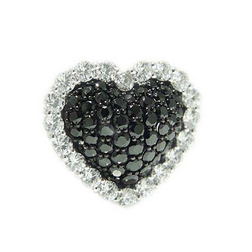 PT900プラチナ ダイヤ ブラックダイヤ ラペルピン ピンバッジ ピンブローチ ブローチ ハート モチーフ 誕生石