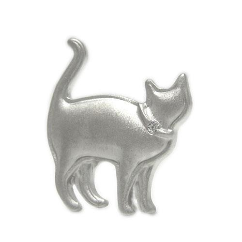 【送料無料】 プラチナPT900 ネコ ダイヤ ラペルピン ピンバッジ ピンブローチ 猫 キャット ブローチ 誕生石 ユニセックスデザイン