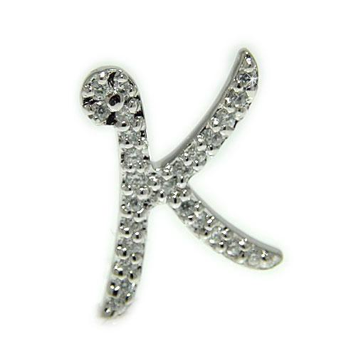 プラチナ ダイヤ イニシャル K ラペルピン ピンブローチ