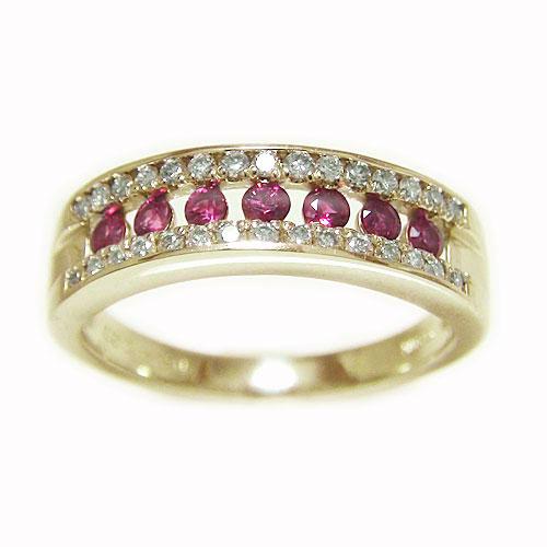 K18YG イエローゴールド ルビー ダイヤ  エタニティー リング 7月誕生石 指輪