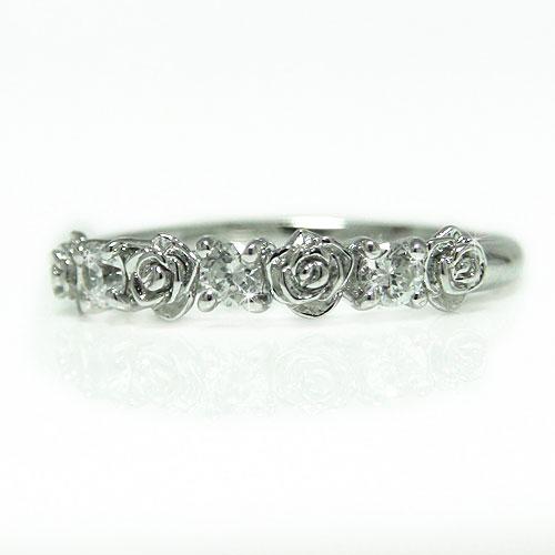 K18WG ホワイトゴールド バラ 薔薇 ダイヤ ダイヤモンド リング 指輪