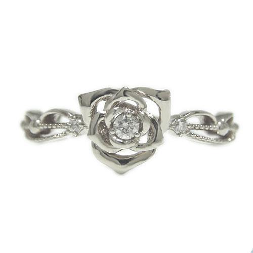 PT900 プラチナ バラ 薔薇 ダイヤ ダイヤモンド ローズ リング 指輪 アンティーク