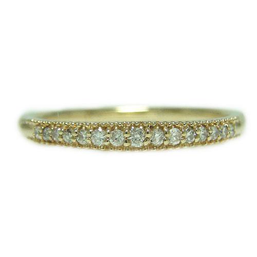 K18YG イエローゴールド リング ダイヤ ダイヤモンド エタニティー 重ね着け 細身 指輪