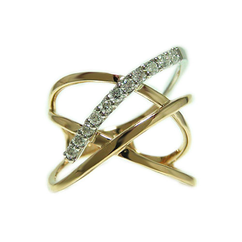 K18PGピンクゴールド/プラチナ リング ダイヤ ダイヤモンド コンビ 人差し指 指輪