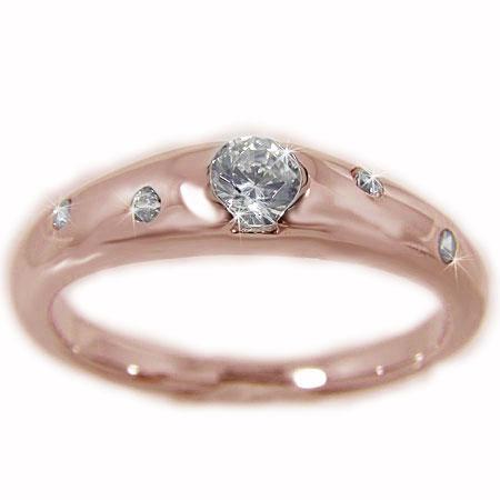 K18PGピンクゴールド ダイヤモンド エンゲージ ブライダル リング 結婚指輪 鑑別書付 VS1
