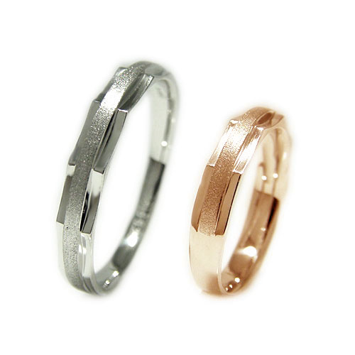 PT900プラチナ/K18PGピンクゴールド 地金 マリッジ リング 結婚指輪 指輪 ペア 2本セット リングケース付