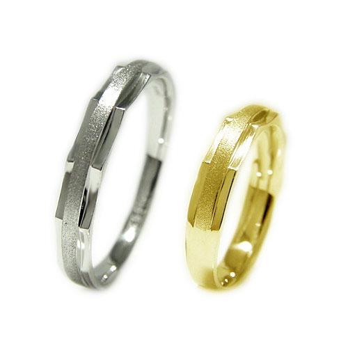 K18WGホワイトゴールド/K18YGイエローゴールド 地金 マリッジ リング 結婚指輪 指輪 ペア 2本セット リングケース付