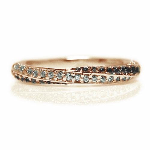 K18PGピンクゴールド リング ブラックダイヤ ダイヤモンド コンビ エタニティー 重ね着け エンゲージ マリッジ 指輪 ブライダル 結婚指輪 誕生石