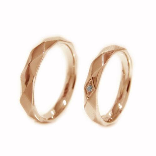 K18PGピンクゴールド 地金 ダイヤ マリッジ リング 結婚指輪 指輪 ペア 2本セット リングケース付