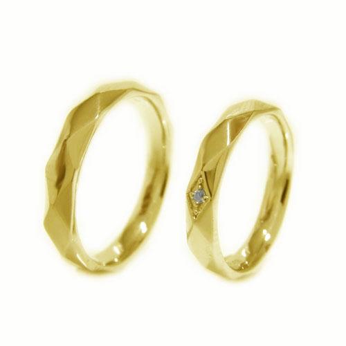 K18YGイエローゴールド 地金 ダイヤ マリッジ リング 結婚指輪 指輪 ペア 2本セット リングケース付