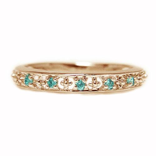 K18PGピンクゴールド リング ブルートパーズ 指輪 ピンキー エタニティー 11月誕生石