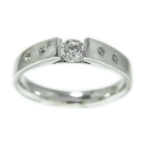 K18WGホワイトゴールド リング ダイヤモンド 一粒石 無垢調仕上げ エンゲージ マリッジ 指輪 ブライダル 結婚指輪 誕生石