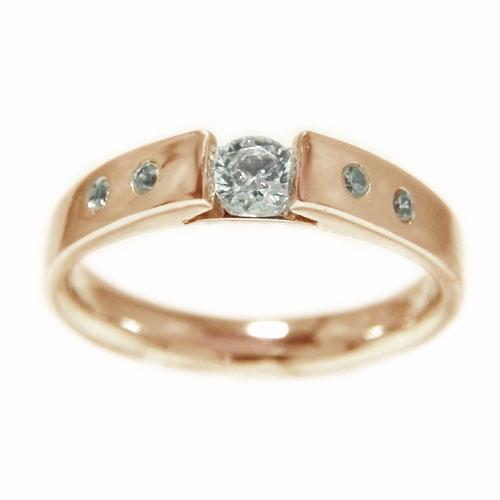 K18PGピンクゴールド リング ダイヤモンド 一粒石 無垢調仕上げ エンゲージ マリッジ 指輪 ブライダル 結婚指輪 誕生石