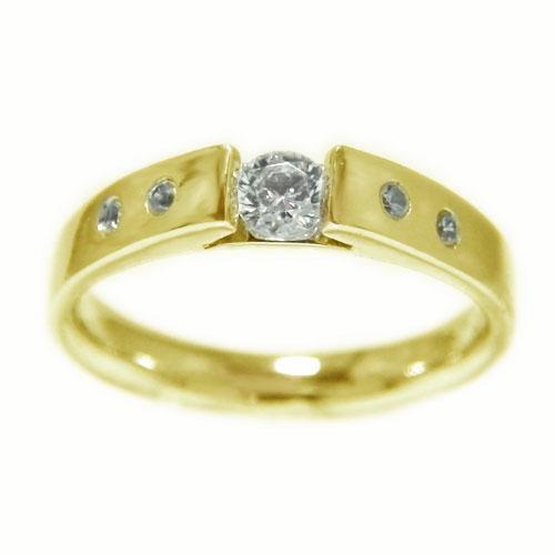 K18YGイエローゴールド リング ダイヤモンド 一粒石 無垢調仕上げ エンゲージ マリッジ 指輪 ブライダル 結婚指輪 誕生石