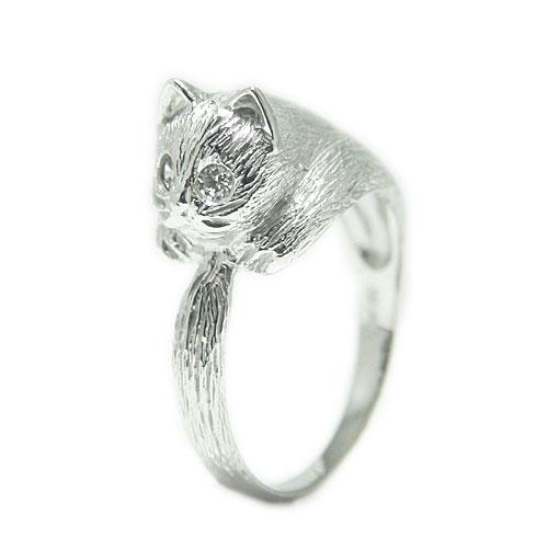 PT900プラチナ リング ネコ 猫 ダイヤ  キャット 指輪 誕生石