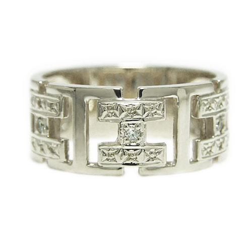 K18WGホワイトゴールド リング ダイヤ 幅広 指輪 誕生石 マリッジ