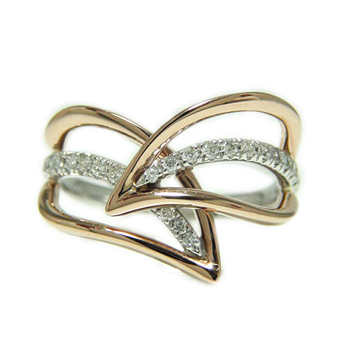 PT900プラチナ/K18ピンクゴールド リング ダイヤ リーフモチーフ 人差し指 中指 大振り ボリューム 指輪 天然石 コンビ