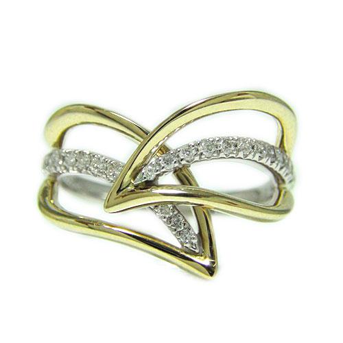 PT900プラチナ/K18イエローゴールド リング ダイヤ リーフモチーフ 人差し指 中指 大振り ボリューム 指輪 天然石 コンビ